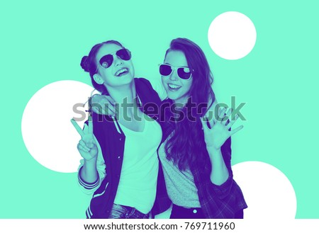 people, friendship and fashion concept - happy laughing teenage girls in sunglasses having fun and showing peace hand sign, trendy duotone effect