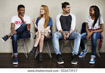 People Friendship Sitting Talking Youth Culture Concept - Shutterstock ID 502673917