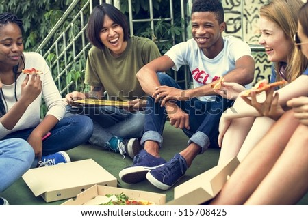 People Friendship Togetherness Eating Pizza Youth Culture Concept #515708425