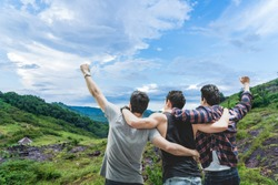 People, friendships on hiking trip for happy traveler on the kingdom of the green world surrounded by beautiful natural forests.Concept- Holiday and Traveler.