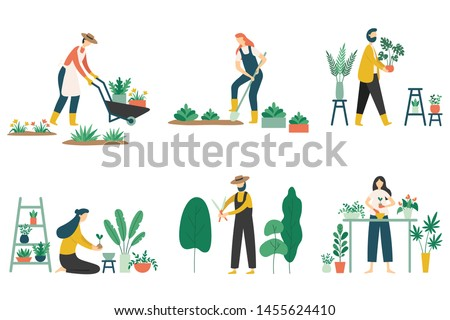 People gardening. Woman planting gardens flowers, agriculture gardener hobby and garden job. Gardening person, gardener flowers cutter working. Flat  illustration isolated icons set