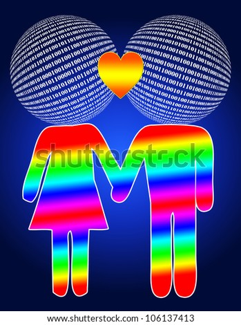People get together in the net and fall in love - stock photo