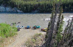 People getting ready to go water rafting on the Nenana river near Denali Park in Alaska.