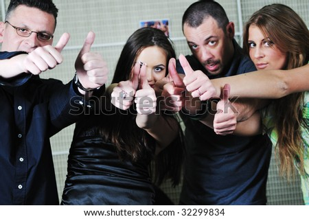 people group expressing positive inner efeeling and show thumb up ok symbol #32299834