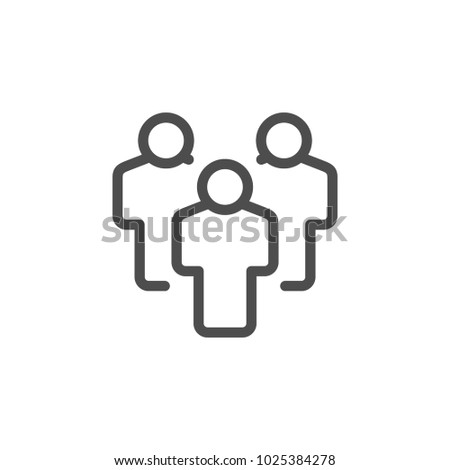 People group line icon isolated on white