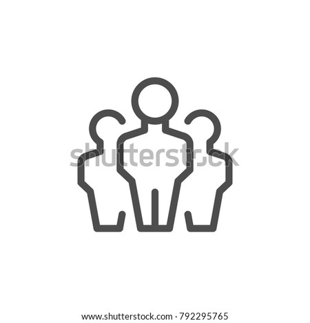 People group line icon isolated on white. Vector illustration