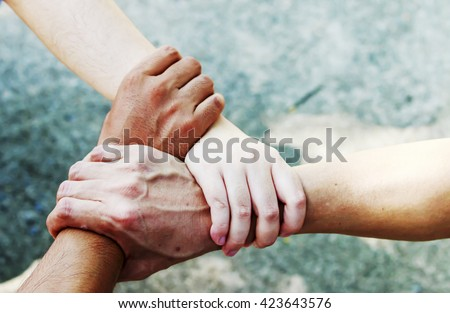 People Hand Assemble Corporate Meeting Teamwork Concept