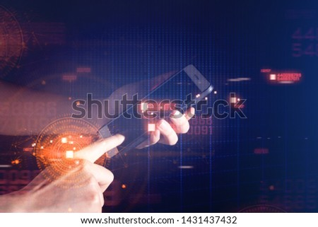people hand touch on smartphone, social network, ai data machine deep learning binary, mobile application, telecommunication, business and finance, hologram ui, cloud storage connecting computing work