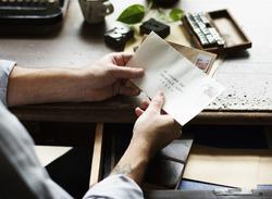 People Hands Holding Envelope Letter Communication