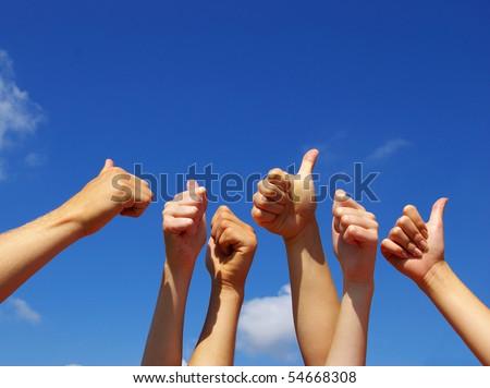 people hands in the sky
