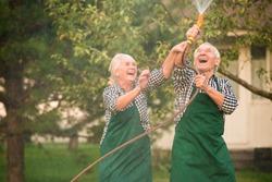 People having fun in garden. Woman and man, water hose.
