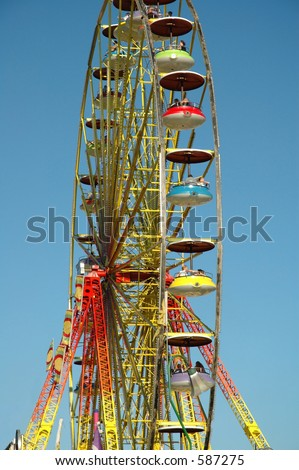 People having fun on a ferris wheel