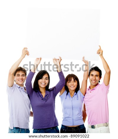 People holding a banner - isolated over a white background