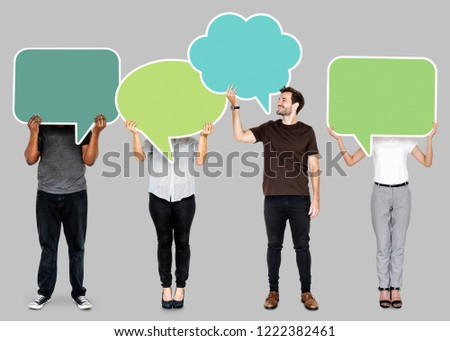 People holding colorful speech bubbles #1222382461