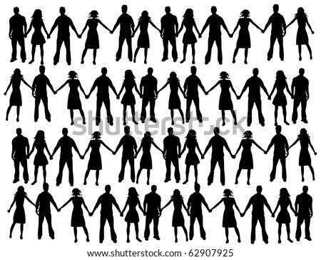 people holding hands in circle. stick people holding hands in circle. stock photo : People holding
