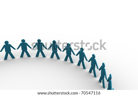 people holding hands in a big circle - this is render illustration