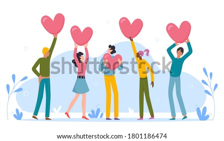 People holding rate love hearts. Show your valentine love. Brief review rating. Review rating and feedback. Customer choice and know your client concept illustration Stockfoto ©