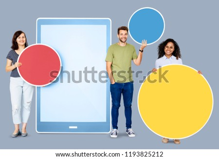 People holding speech bubbles and a digital tablet icon