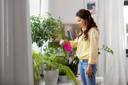 people, housekeeping and plants care concept - asian woman spraying houseplant with water sprayer at home