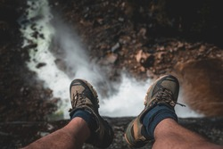 People human sitting at the edge of cliff hiking shoes nature outdoor feet socks water flow waterfall yosemite national park vernal fall