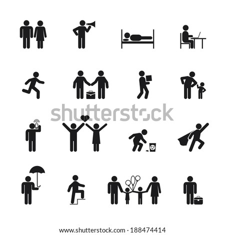 People Icons black silhouette on white background