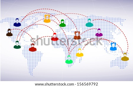 people icons on a background of the planet symbolizes social network