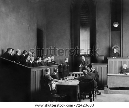 People in a courtroom