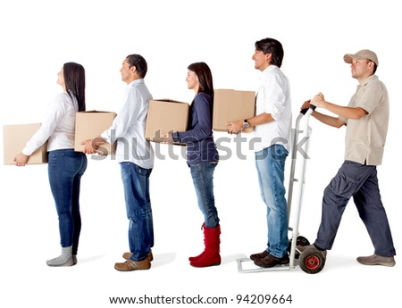 People in a delivery chain carrying boxes - isolated over a white background