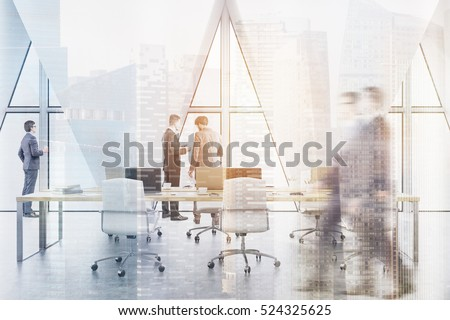 People in an open office with rost of tables with computers and three triangular windows. 3d rendering. Toned image. Double exposure