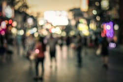 People in bokeh, Crowd of people in Bang La Road during night life, Phuket, Thailand