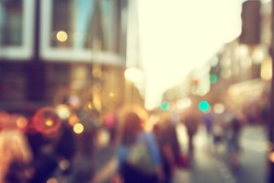 people in bokeh, street of London