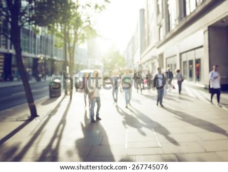 Shutterstock people in bokeh, street of London