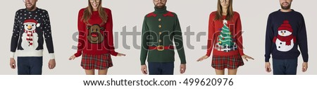 people in colorful jumpers in a ...