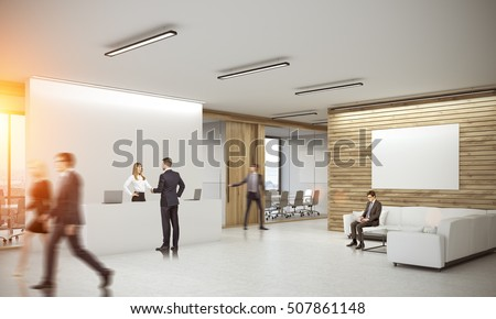 People in corridor of office with reception counter and meeting room with glass doors. Concept of comfortable workspace. 3d rendering. Mock up. Toned image.