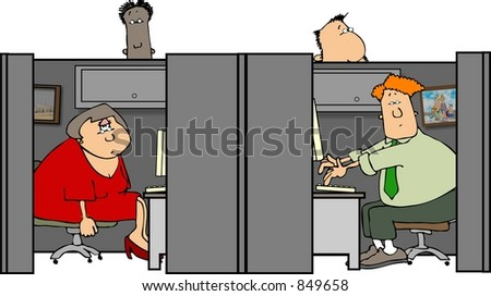 People in cubicles - stock photo