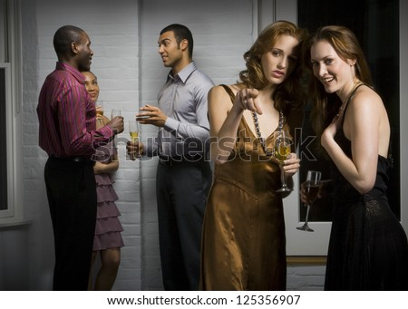 People in formal dress on a party