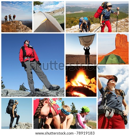 people in hiking collage
