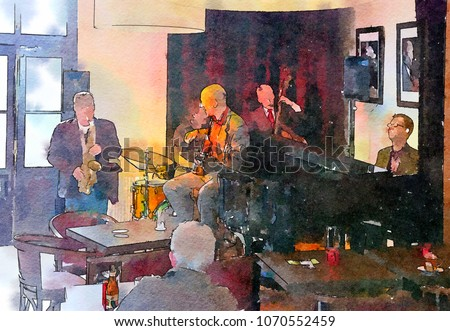 people in jazz cafe, watercolor style