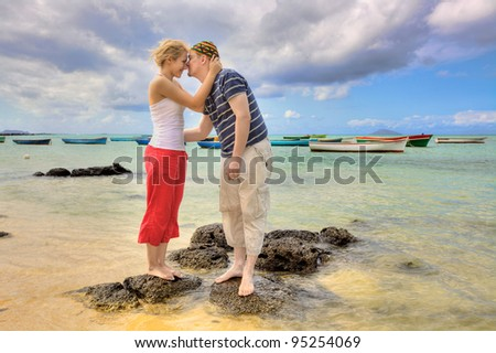 People in love on a beautiful beach