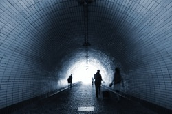 People in mystery tunnel - Prague