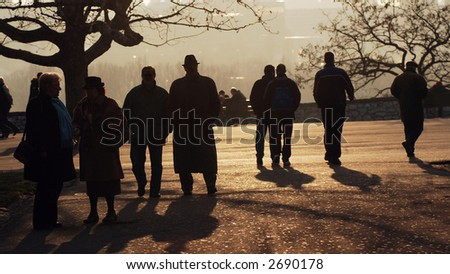 People in park at sunset