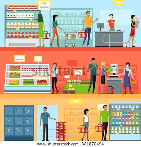 Royalty free people in supermarket interior design for Free people store decor