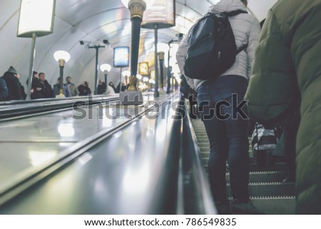 Stock Photo people in the subway in St. Petersburg