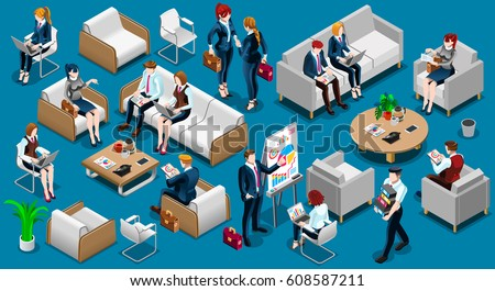 People Isometric 3D, the big boss businessman and business woman, business clothes. The concept of office workers, director and subordinates isolated Illustration