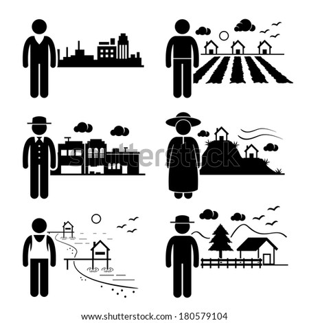 Royalty Free Farmer Man And The Field Vector 259205972