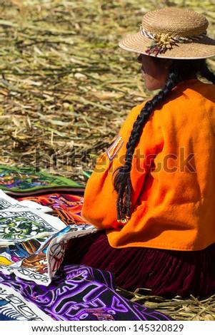 People living in Uros Floating Islands, Lake Titicaca, Peru #145320829