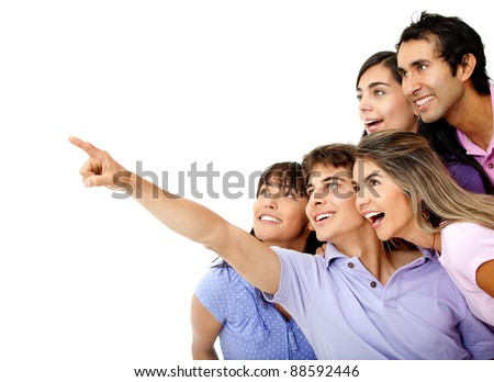 People looking at something where a man is pointing - isolated