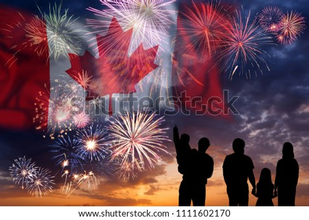 People looks holiday fireworks on independence day, flag of Canada in sky, background and banner #1111602170