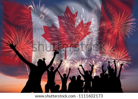 People looks holiday fireworks on independence day, flag of Canada in sky, background and banner #1111602173