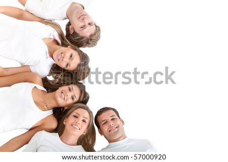People lying on the floor making a semi-circle and wearing white clothes ? isolated